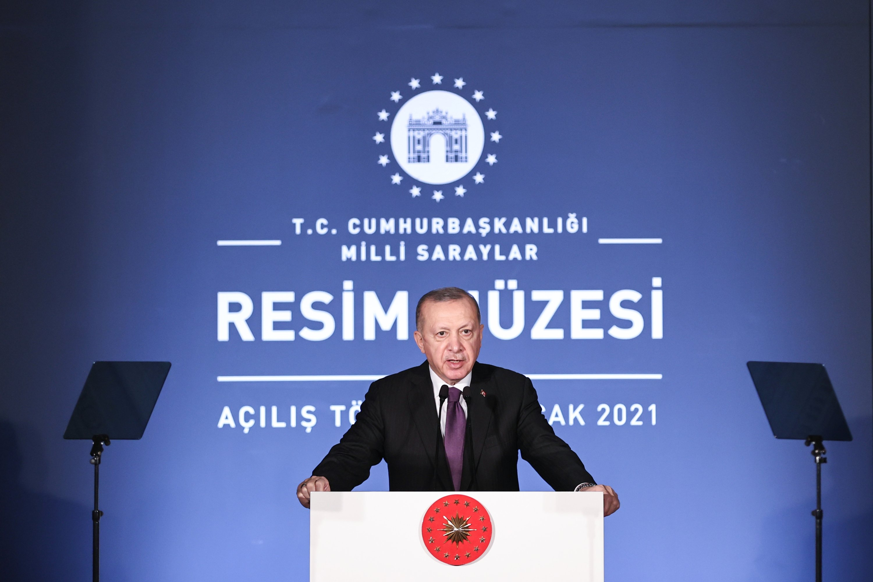 President Recep Tayyip Erdoğan speaks at the opening of the Painting Museum, Dolmabahçe Palace, Istanbul, Turkey, Jan. 15, 2020. (AA Photo)