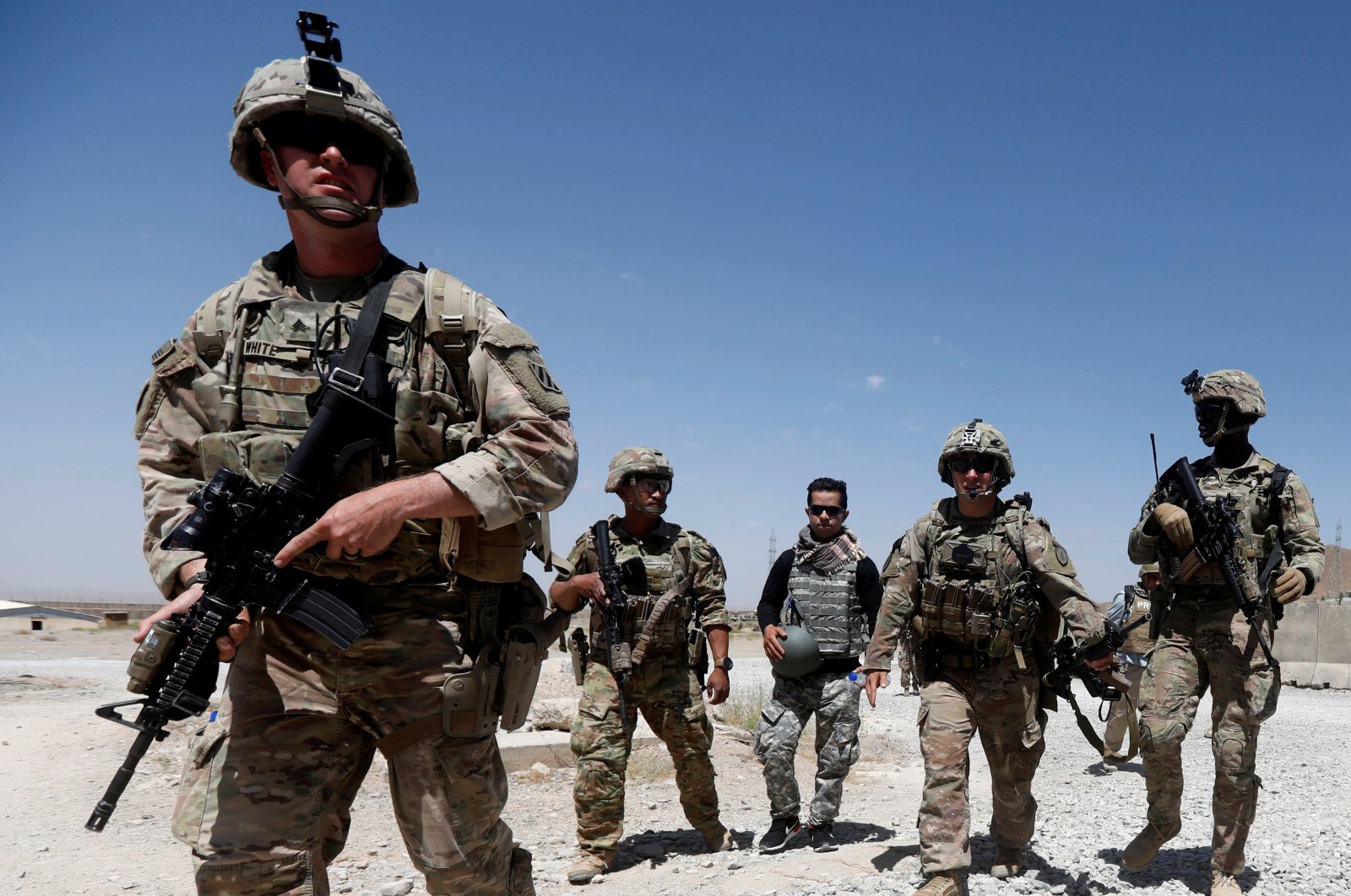 U.S. troops patrol at an Afghan National Army (ANA) Base in Logar province, Afghanistan on Aug. 7, 2018. (Reuters Photo)