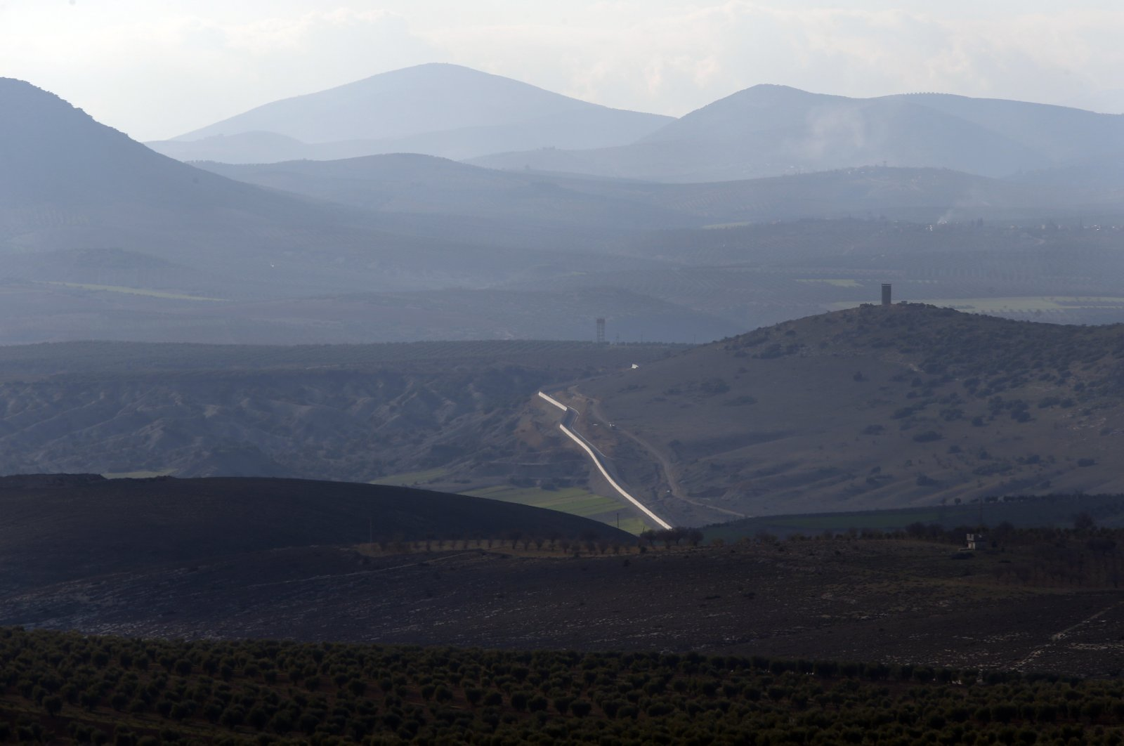 A view of the Turkey-Syria border as seen from the outskirts of the town of Kilis, Turkey, Jan. 28, 2018. (AP File Photo)