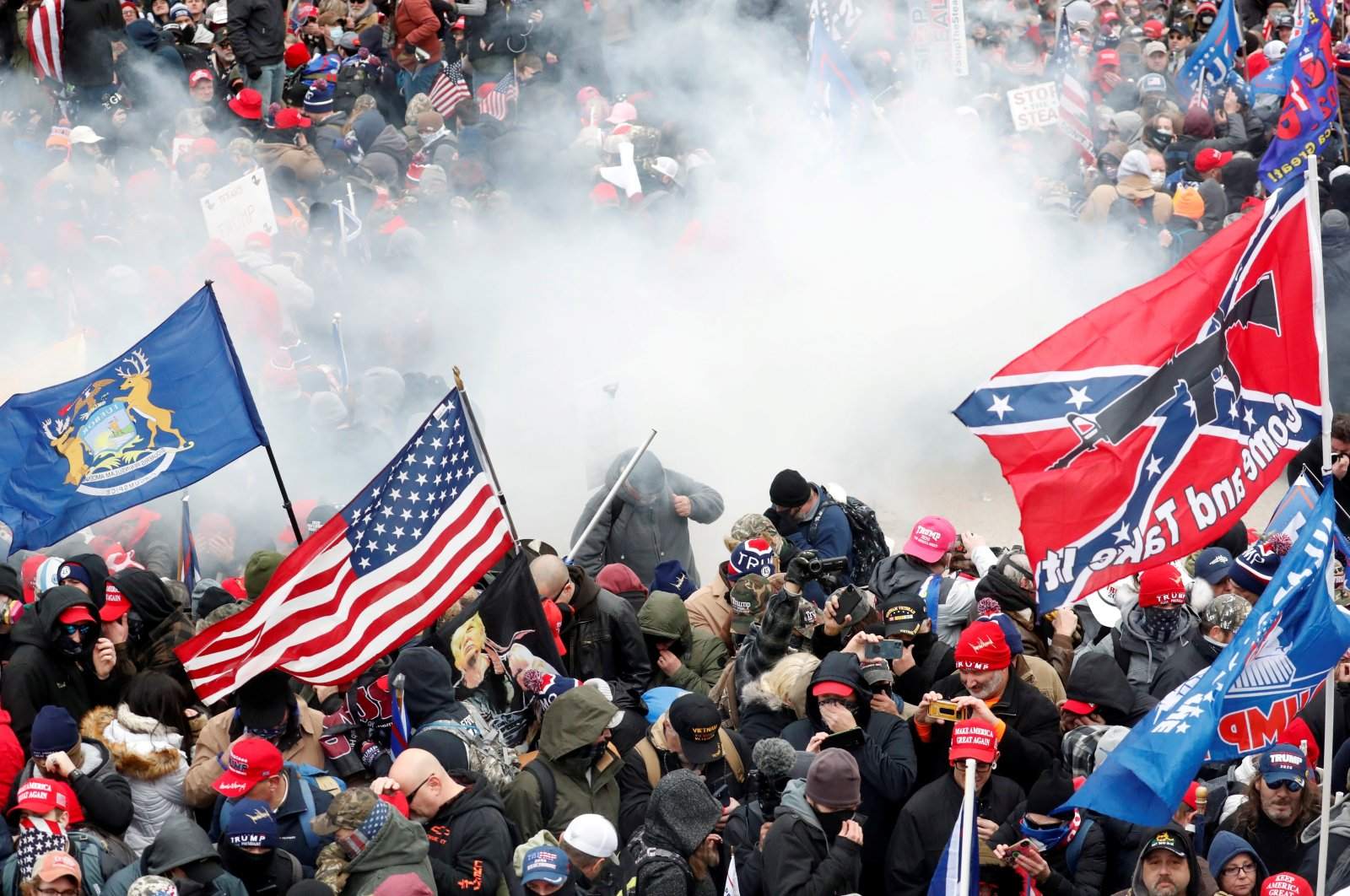 Tear gas is released into a crowd of protesters at U.S. Congress, at the U.S. Capitol Building in Washington, U.S, Jan. 6, 2021. (Reuters Photo)