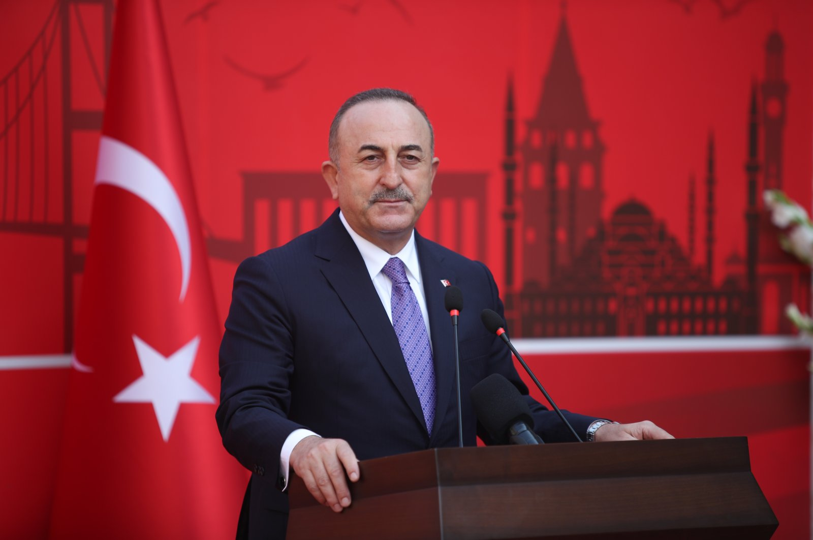 Foreign Minister Mevlüt Çavuşoğlu speaks at the opening ceremony of Turkey's Consulate in Karachi, Pakistan, Jan. 14, 2021 (AA Photo)