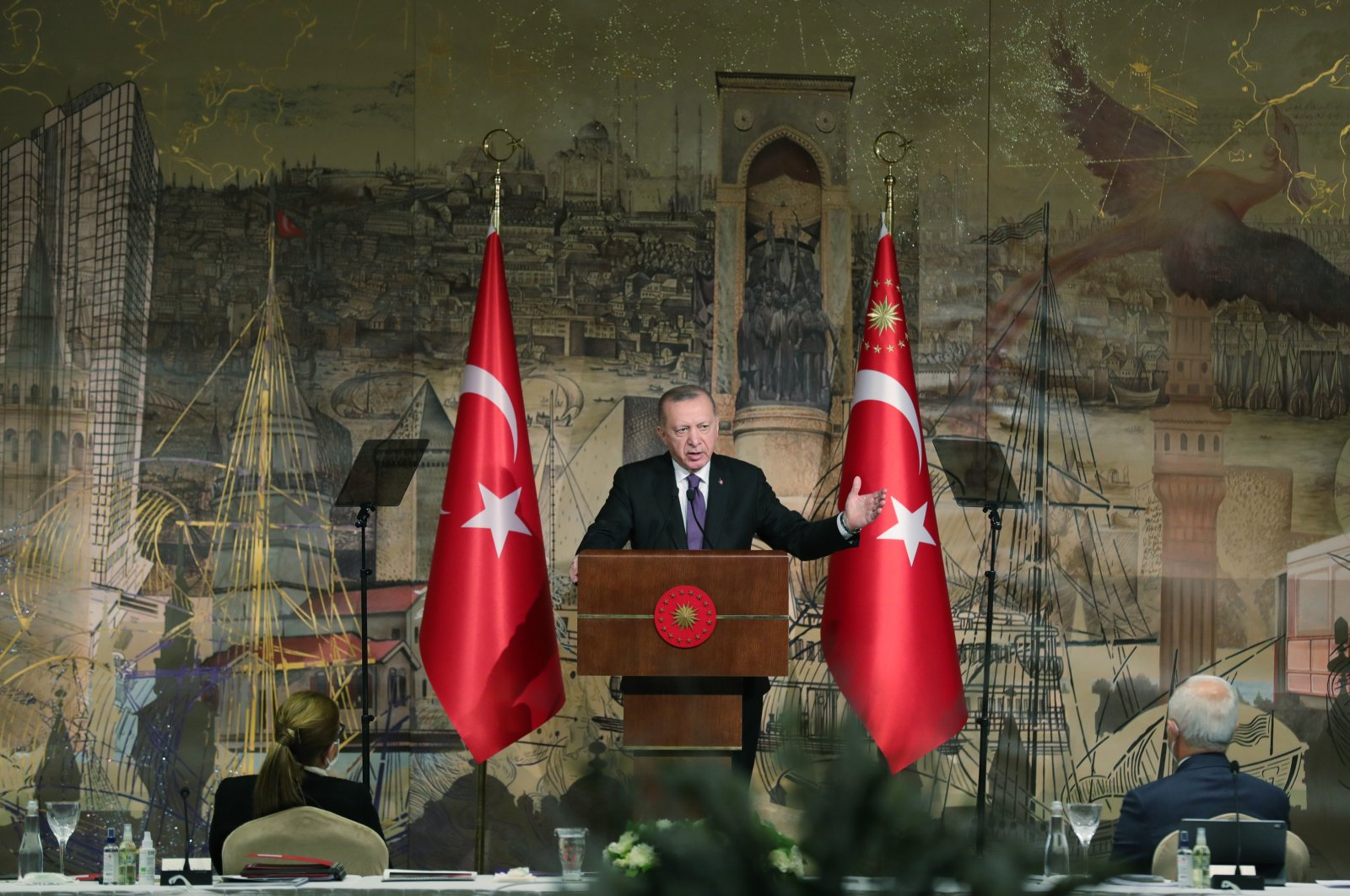 President Recep Tayyip Erdoğan addresses Foreign Economic Relations Board (DEIK) members at a meeting in the Dolmabahçe Presidential Complex, Istanbul, Turkey, Jan. 15, 2021. (AA Photo)