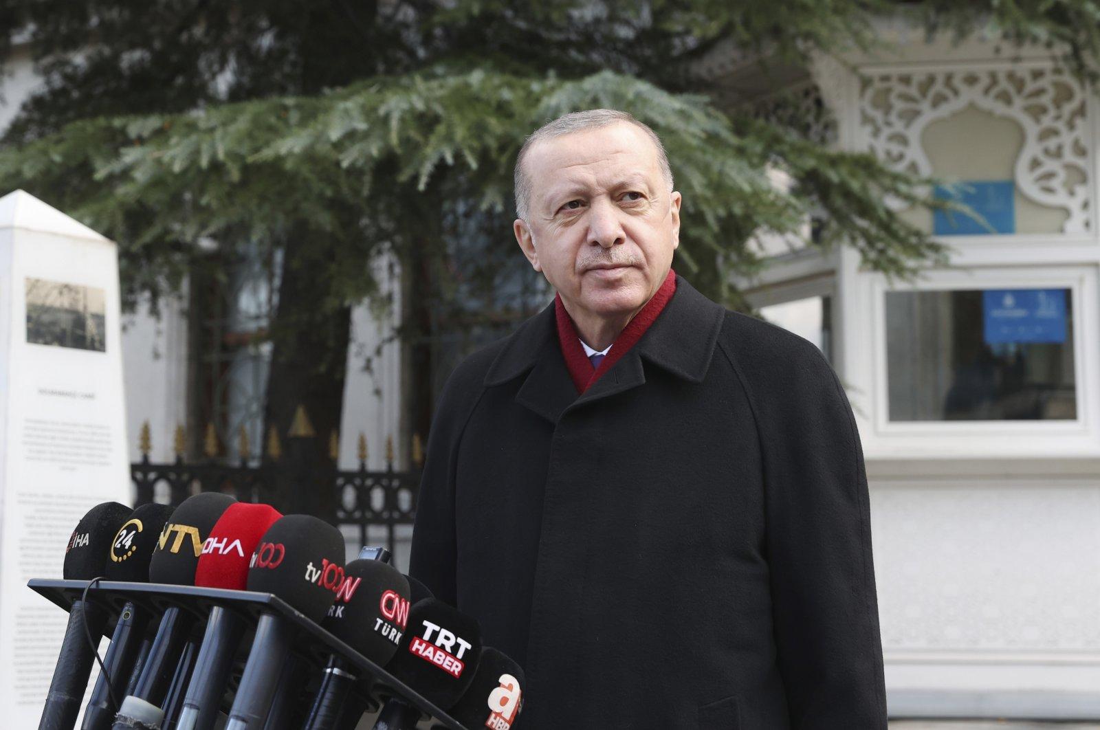 President Recep Tayyip Erdoğan speaks to the media after Friday prayers, in Istanbul, Jan. 15, 2021. (AP Photo)