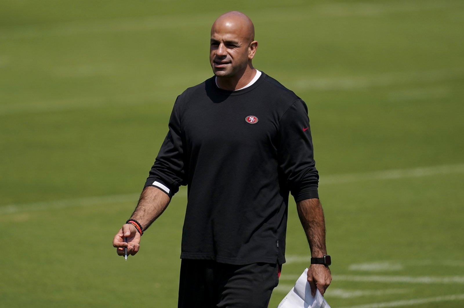 San Francisco 49ers defensive coordinator Robert Saleh watches during the NFL football team's practice in Santa Clara, California, Sept. 2, 2020. (AP Photo)
