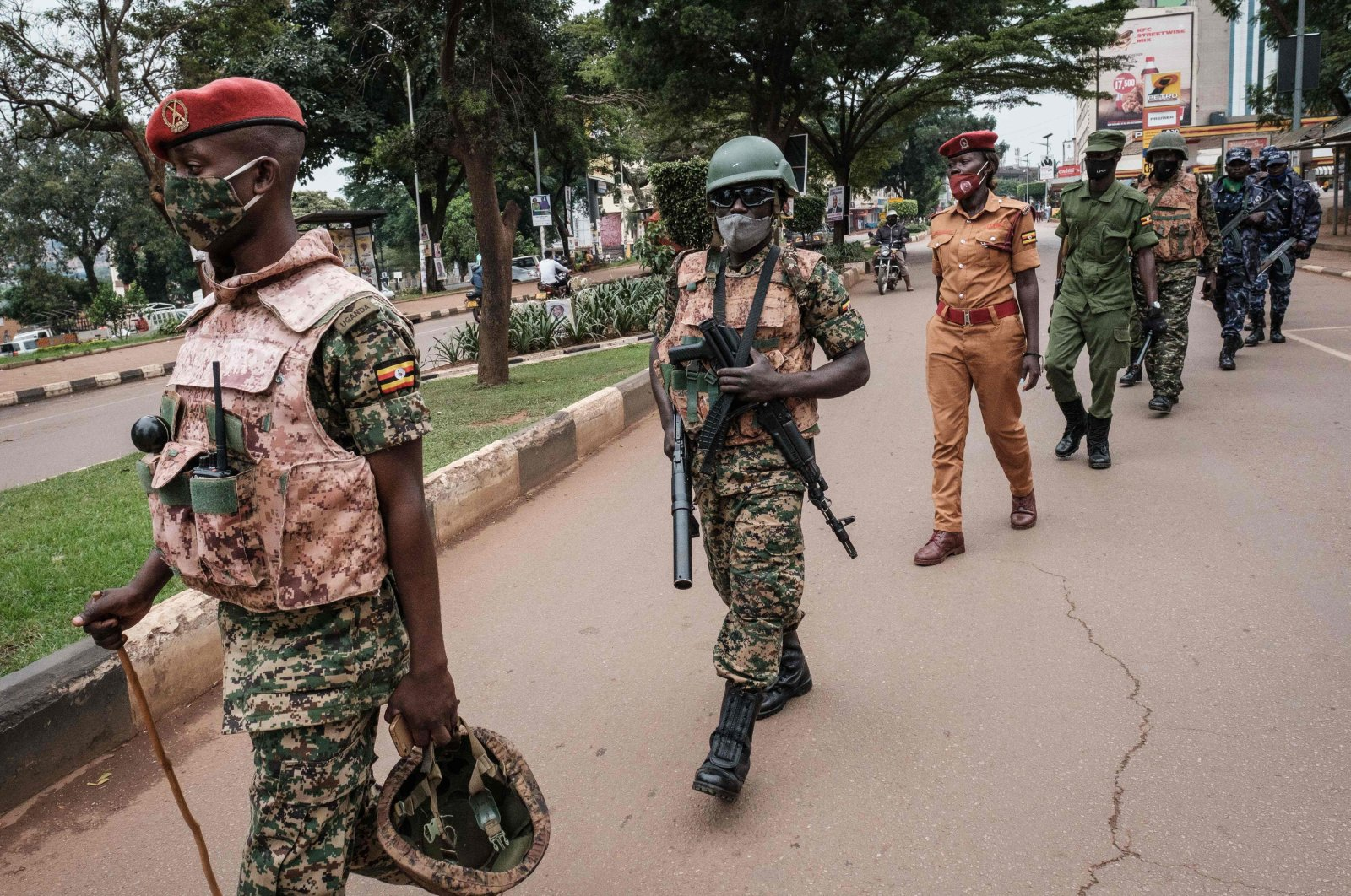 Security forces officers are seen during a joint patrol in a street ahead of Uganda's election results announcement in Kampala, Uganda, Jan. 16, 2021. (AFP Photo)
