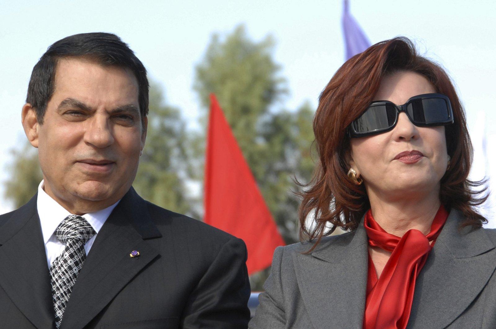 In this file photo, Tunisian President Zine EL Abidine Ben Ali and his wife, Leila, mark the 20th anniversary of Ben Ali's presidency, in Rades, outside Tunis, Nov. 7, 2007. (AP Photo)