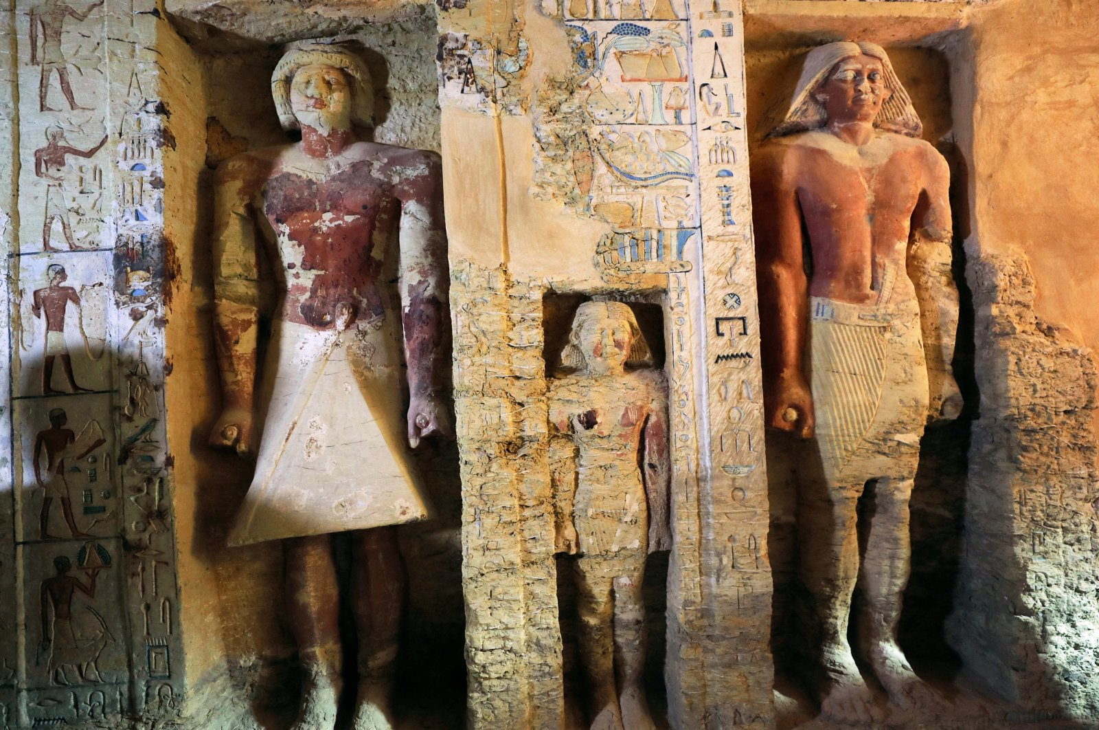 """A view of the newly discovered tomb of """"Wahtye,"""" which dates from the rule of King Neferirkare Kakai, in the Saqqara area near its necropolis, in Giza, Egypt, Dec. 15, 2018. (Reuters Photo)"""