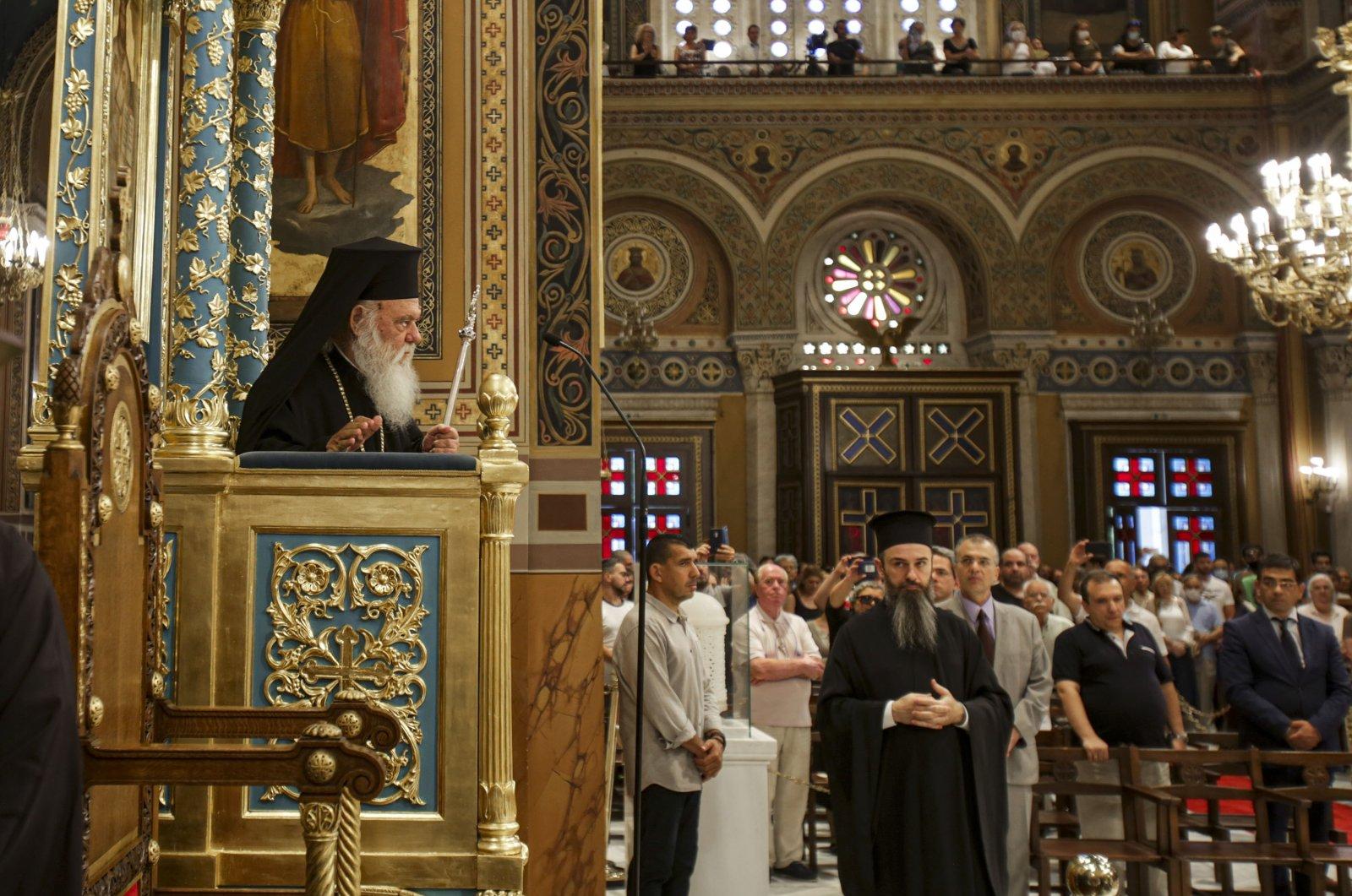 Leiter der griechischen Kirche, Erzbischof Ieronymos II. (L), Athen, Griechenland, 24. Juli 2020. (Foto von Getty Images)