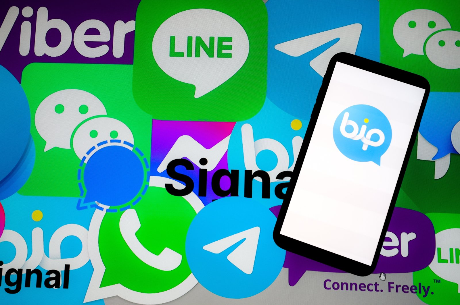 The logo of the Turkish messaging app BiP and other apps are seen in this Anadolu Agency illustration created on Jan. 10, 2021. (AA Photo)