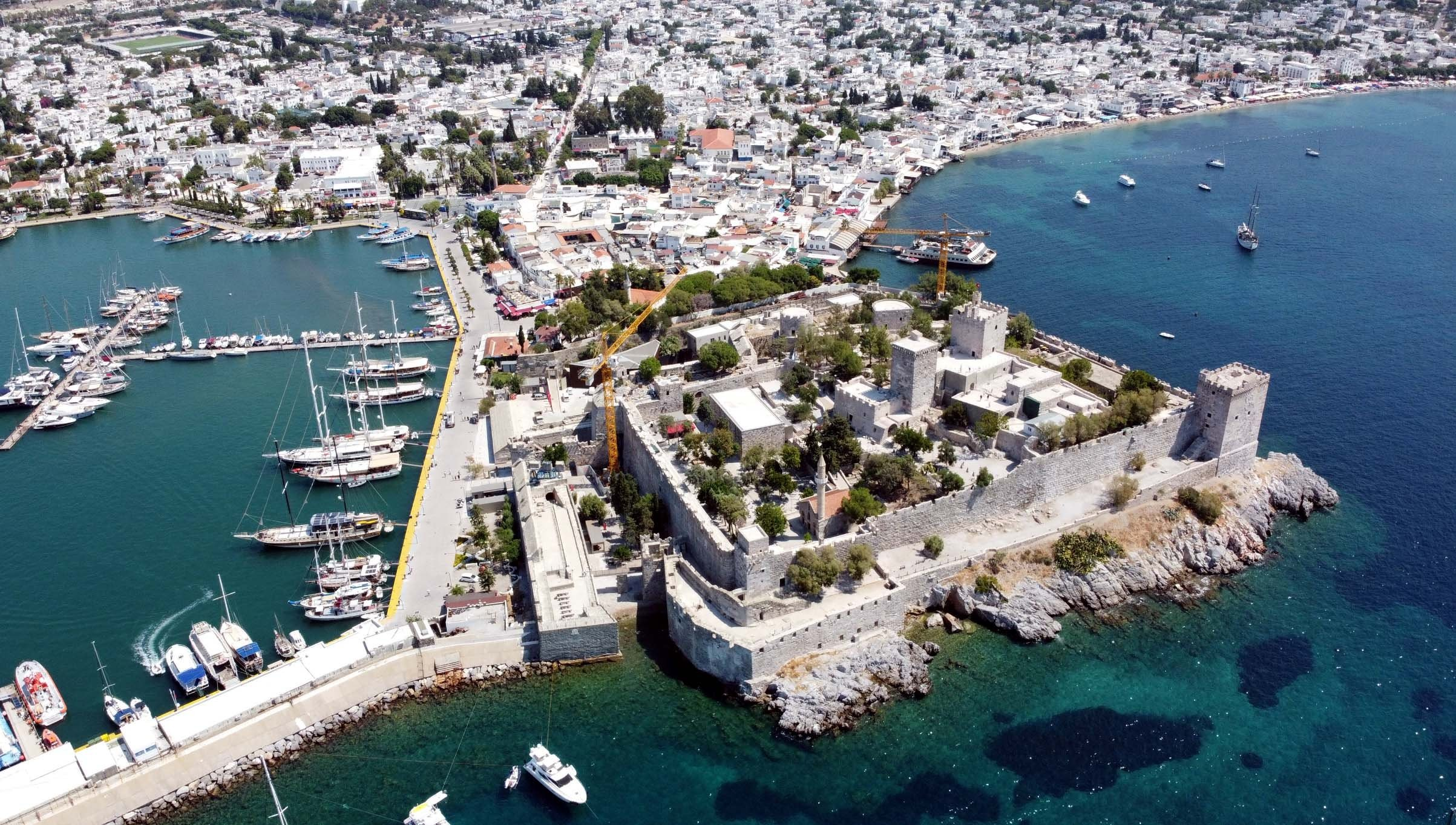 An aerial shot shows the Bodrum Castle and part of the harbor in Muğla, Jan. 12, 2021. (AA Photo)
