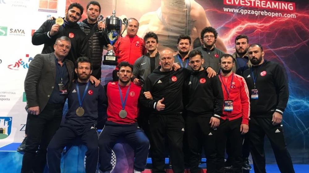 The Turkish Greco-Roman national team poses with the International Zagreb Open Tournament title in Zagreb, Croatia, Jan. 18, 2021.