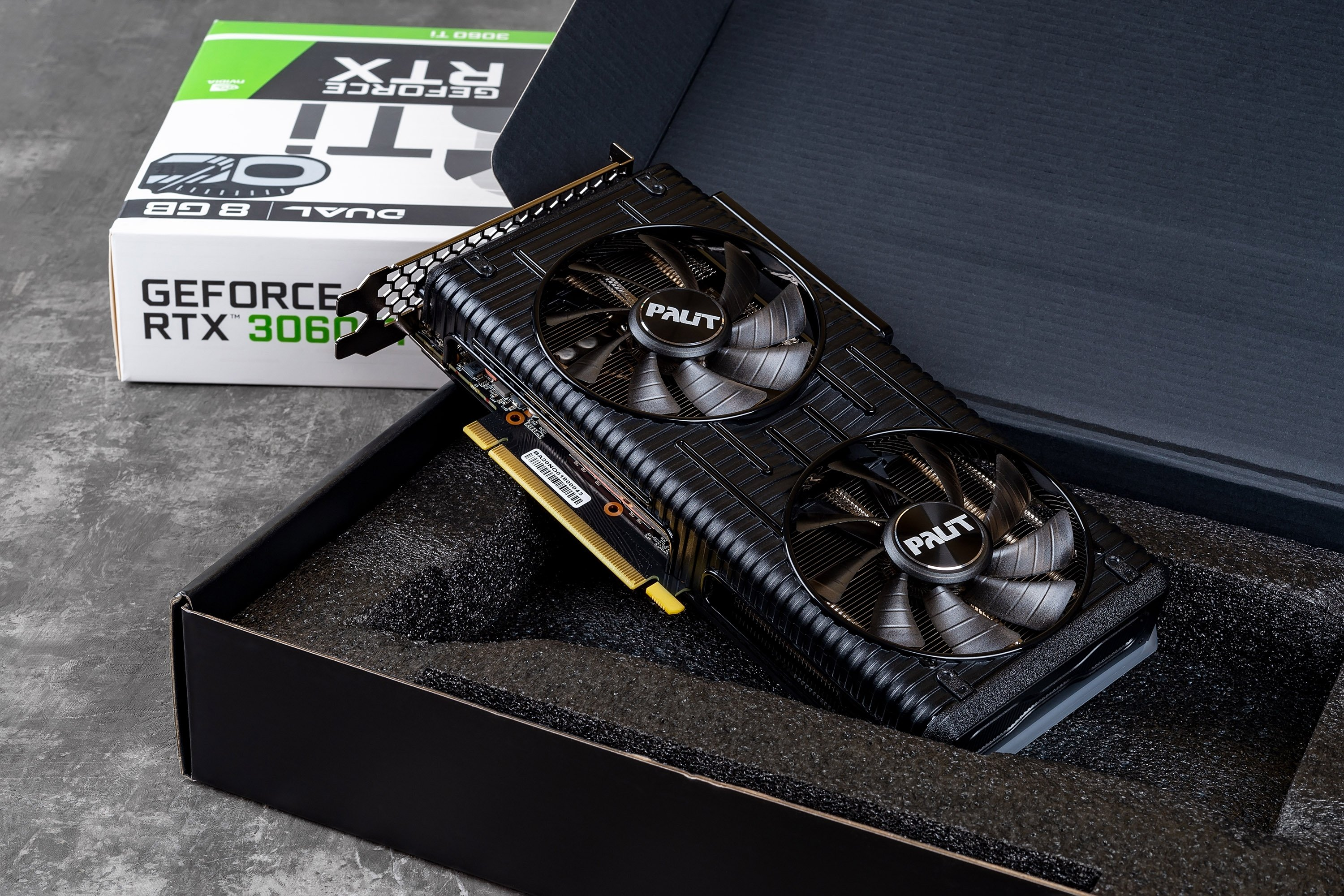 Photo shows Nvidia Geforce RTX 3060 Ti Dual OC gaming graphics card in Varna, Bulgaria, January 11, 2021. (Shutterstock Photo)