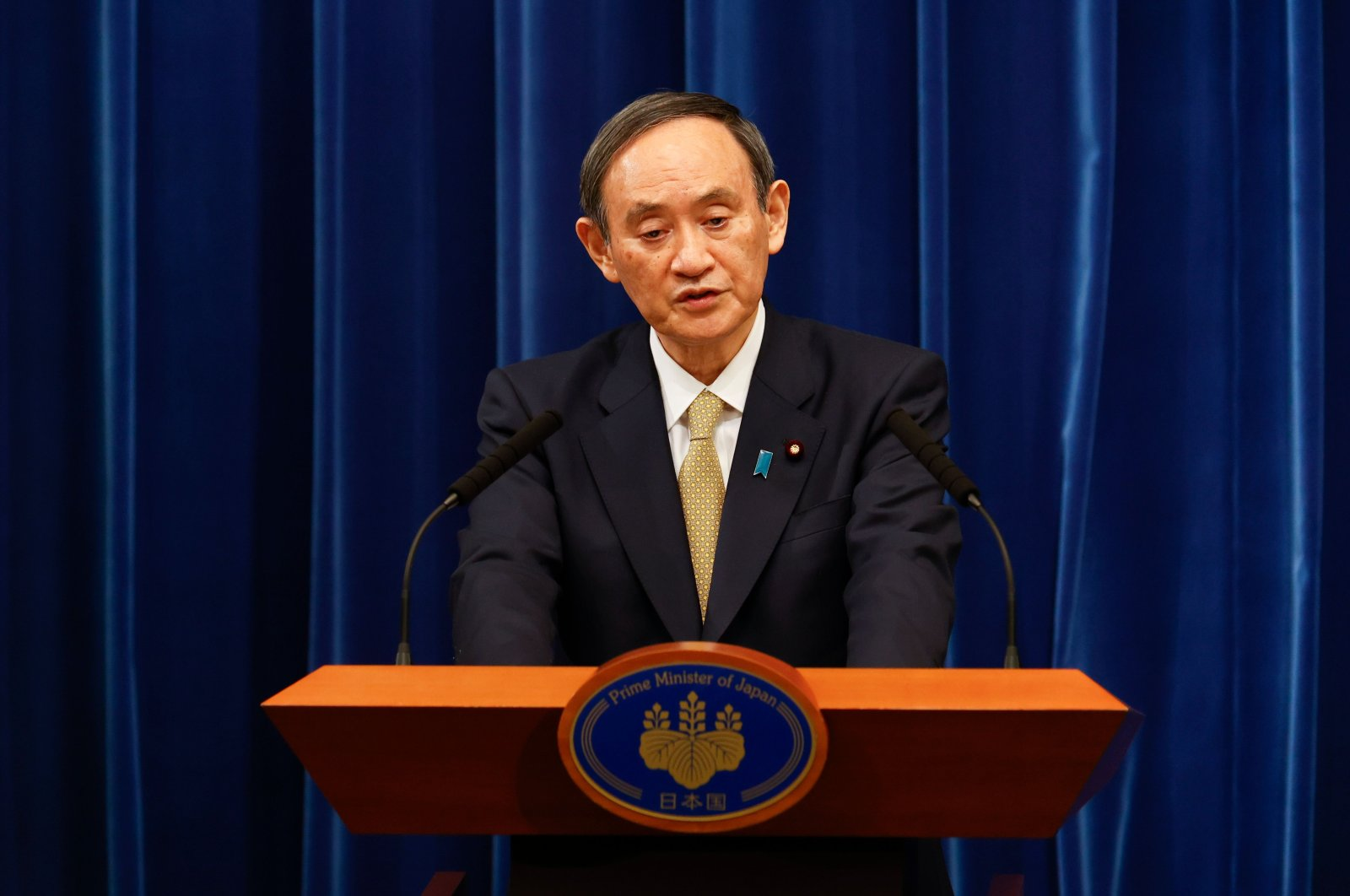 Japan's Prime Minister Yoshihide Suga speaks during a news conference at his official residence in Tokyo, Japan, Jan. 13, 2021. (AFP Photo)