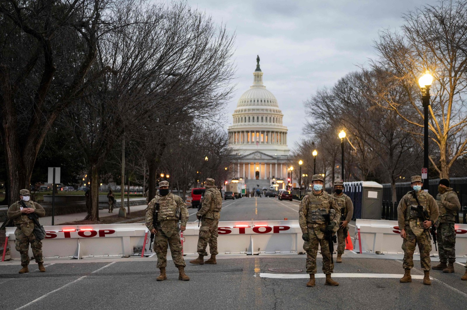 Members of the U.S. National Guard stand watch at the U.S. Capitol in Washington, D.C., U.S., Jan. 17, 2021. (AFP Photo)