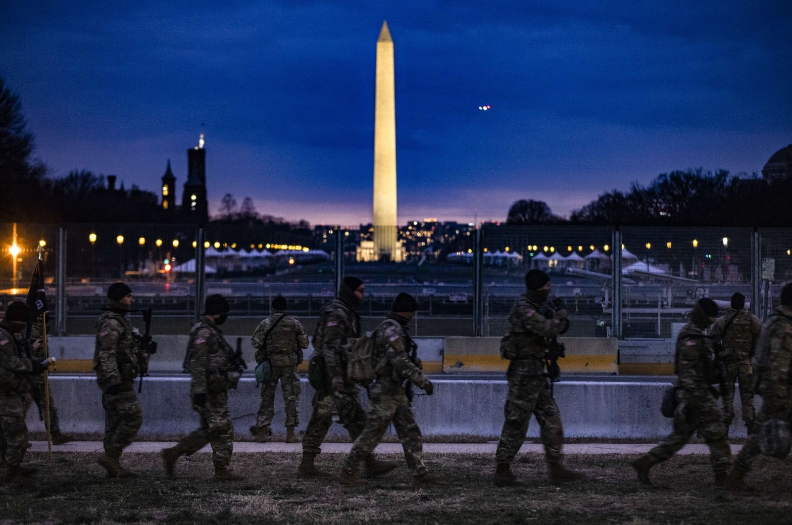 U.S. National Guard soldiers stand watch at the National Mall, Washington, D.C., U.S., Jan. 17, 2021. (AFP Photo)