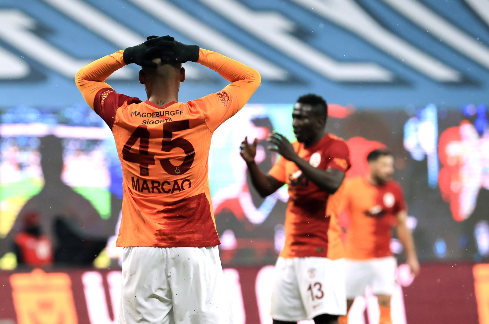 Galarasaray players look dejected after a Süper Lig match against Beşiktaş at the Vodafone Park stadium, in Istanbul, Turkey, Jan. 17, 2021. (AA Photo)