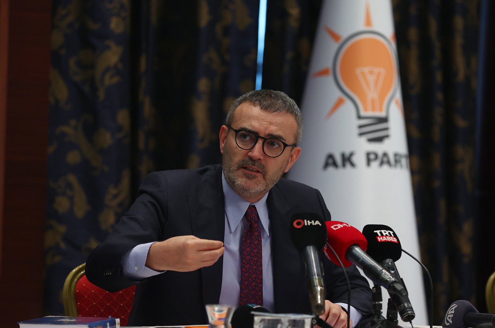 AK Party Deputy Chair Mahir Ünal speaks at a news conference at the party's headquarters in Ankara on Jan. 10, 2020 (AA Photo)