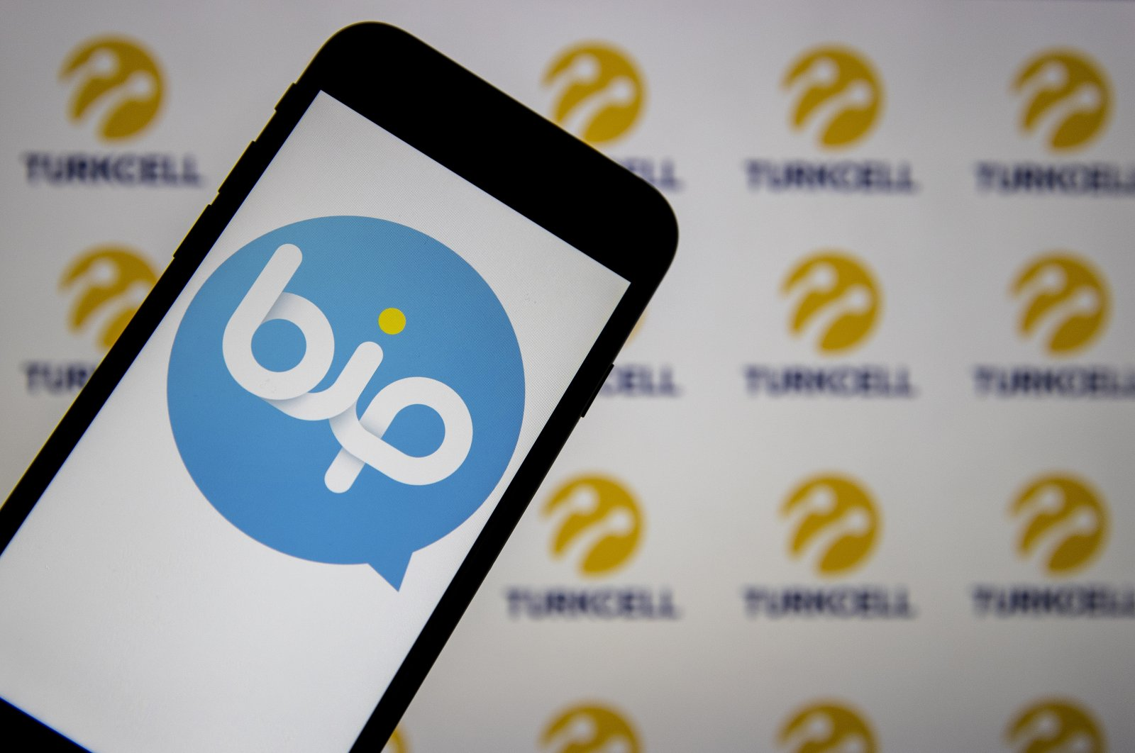 A logo of the Turkish messaging app BiP is seen on a phone screen in this illustration photo, Jan. 16, 2021. (AA Photo)