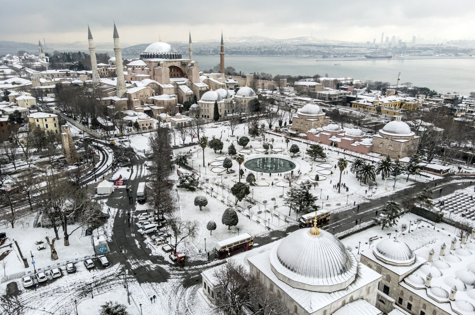 A view of Ayasofya Grand Mosque and Sultanahmet Square covered in snow, in Istanbul, Turkey, Jan. 18, 2021. (İHA PHOTO)