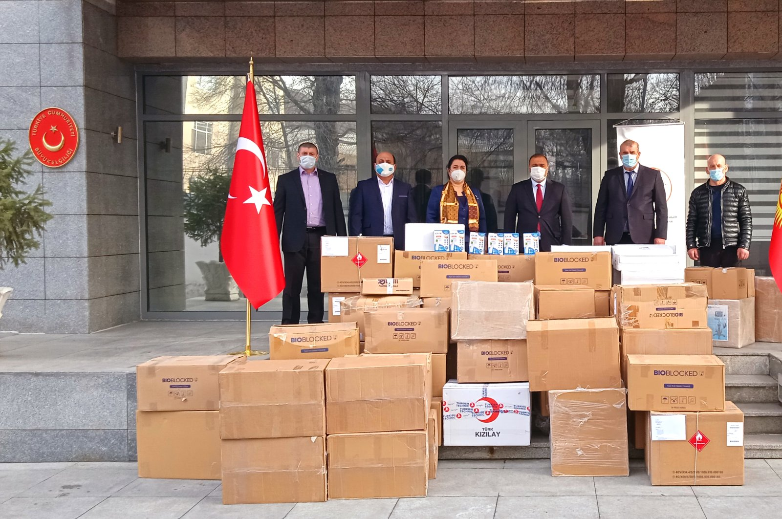 Medical supplies sent by Turkey arrived in Kyrgyz capital, Jan. 18, 2021. (AA Photo)