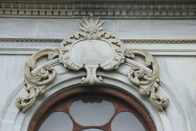 The tughra, or the signature, of Sultan Abdulaziz adorns a stone ornament above a window overlooking the entrance of the pavilion, Kocaeli, northwestern Turkey, Jan. 15, 2021. (AA Photo)
