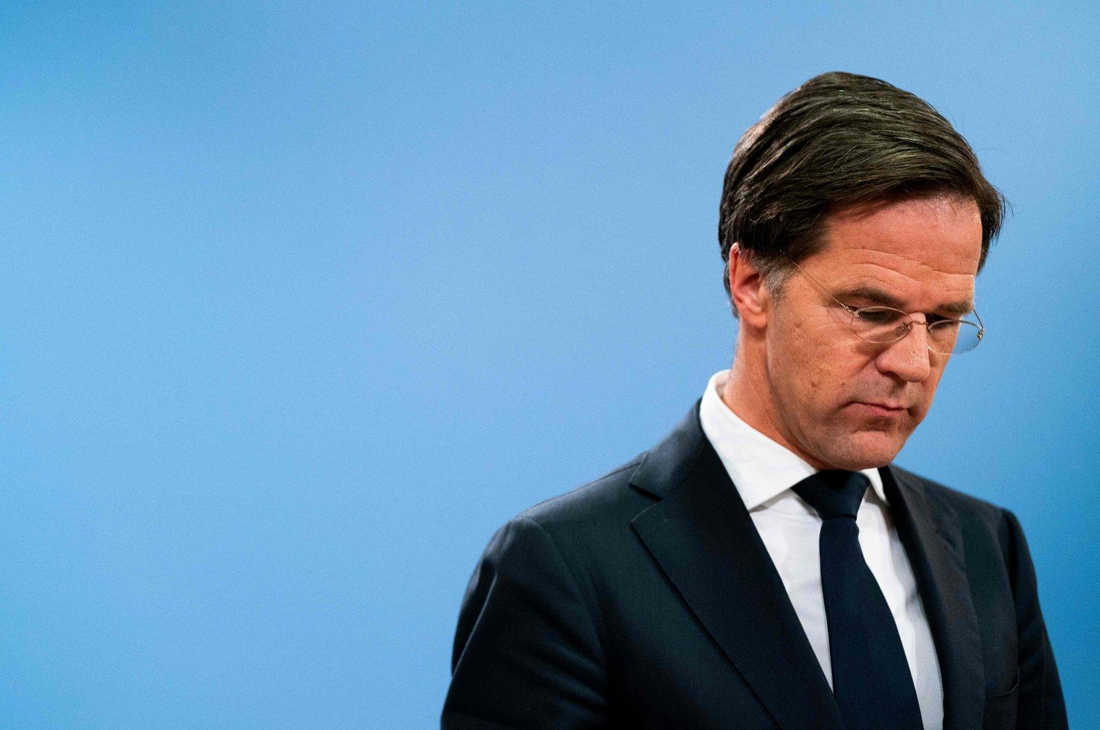 Dutch Prime Minister Mark Rutte speaks during a press conference in The Hague, Netherlands, Jan. 15, 2021. (AFP)