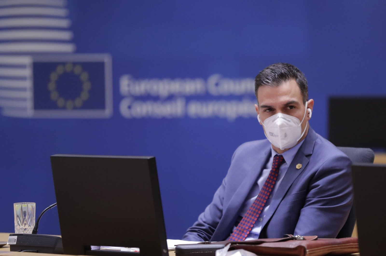 Spain's Prime Minister Pedro Sanchez attends a round table meeting at an EU summit in Brussels, Dec. 11, 2020. (AP Photo)