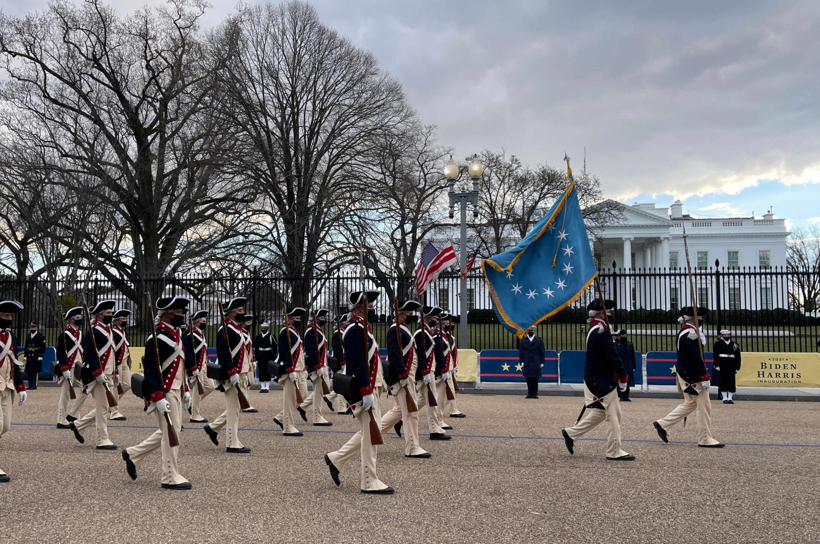 Military color guards practice during a dress rehearsal for the inaugural ceremony, Washington, D.C., U.S., Jan. 18, 2021. (AFP Photo)