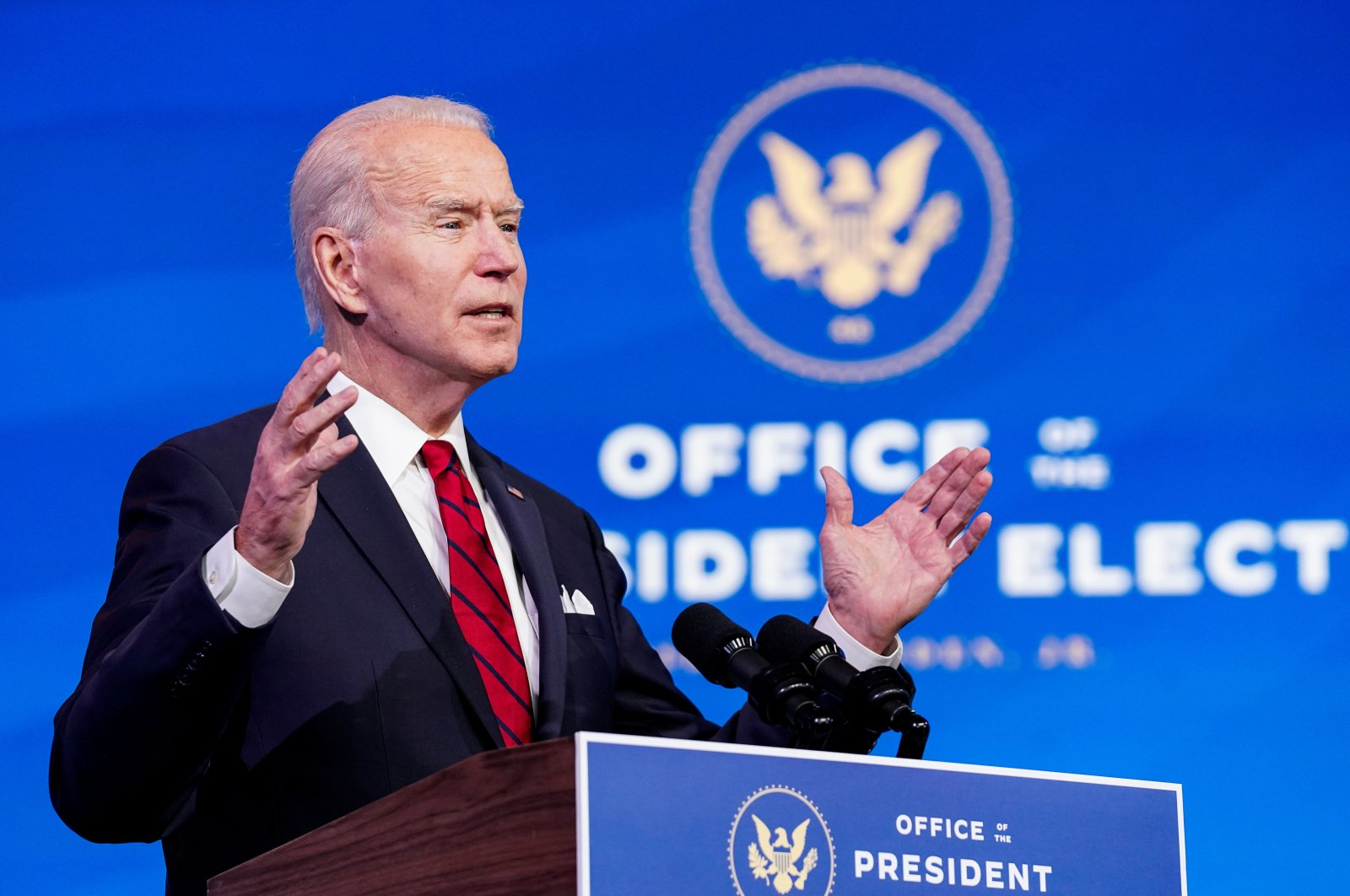 U.S. President-elect Joe Biden speaks about his plan to administer coronavirus disease vaccines to the U.S. population during a news conference at Biden's transition headquarters in Wilmington, Delaware, U.S., Jan. 15, 2021. (Reuters Photo)