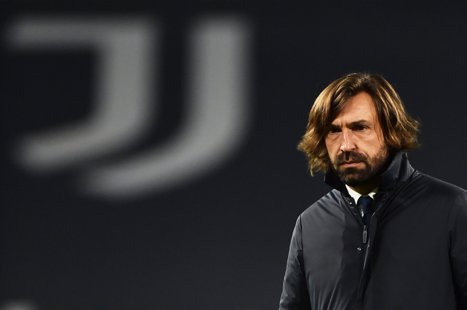 Juventus coach Andrea Pirlo before a Serie A match against Sassuolo at the Allianz Stadium, Turin, Italy, Jan. 10, 2021. (REUTERS Photo)
