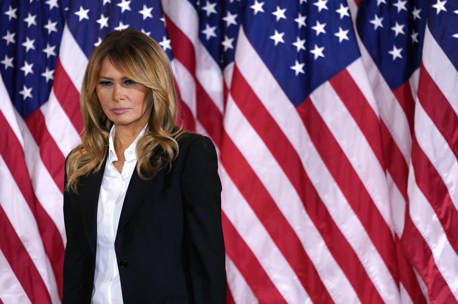 First lady Melania Trump looks on as U.S. President Trump speaks on the election night at an event at the White House in Washington D.C., U.S., Nov. 4, 2020. (EPA-EFE Photo)