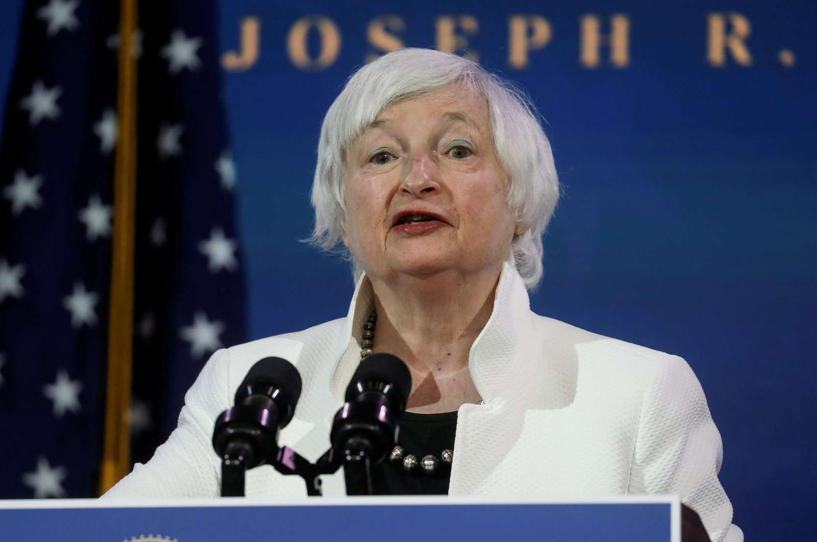 Former chairperson of the Federal Reserve and U.S. President-elect Joe Biden's nominee for the Treasury, Janet Yellen gives a speech at the Office of the President-elect in Washington, D.C., Jan. 12, 2020. (Reuters Photo)