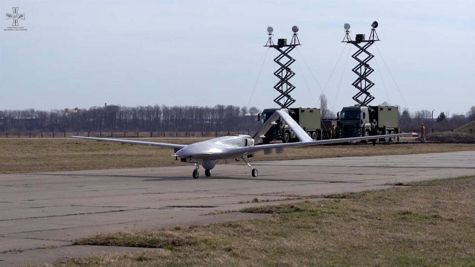 A Bayraktar TB2 drone belonging to the Ukrainian military, Oct. 21, 2019. (Courtesy of Ukrainian Air Force via AA)