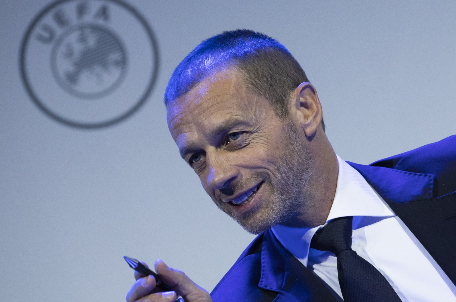 UEFA President Aleksander Ceferin speaks at a meeting of European football leaders at the congress of the UEFA governing body, Amsterdam's Beurs van Berlage, Netherlands, March 3, 2020. (AP Photo)