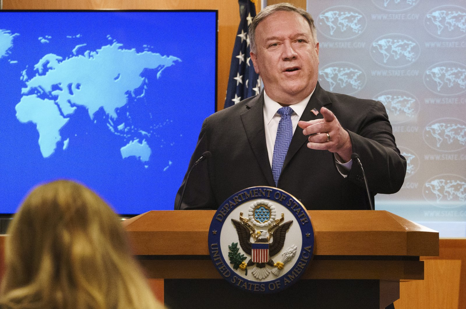 U.S. Secretary of State Mike Pompeo gestures toward a reporter while speaking at the State Department in Washington, Nov. 10, 2020. (AP Photo)