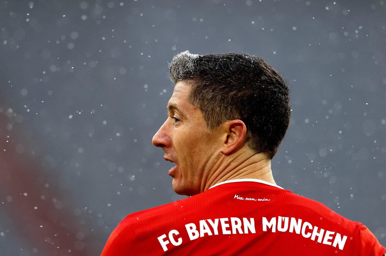Bayern Munich's Robert Lewandowski during a German Bundesliga match against SC Freiburg, Munich, Germany, Jan. 17, 2021. (EPA Photo)