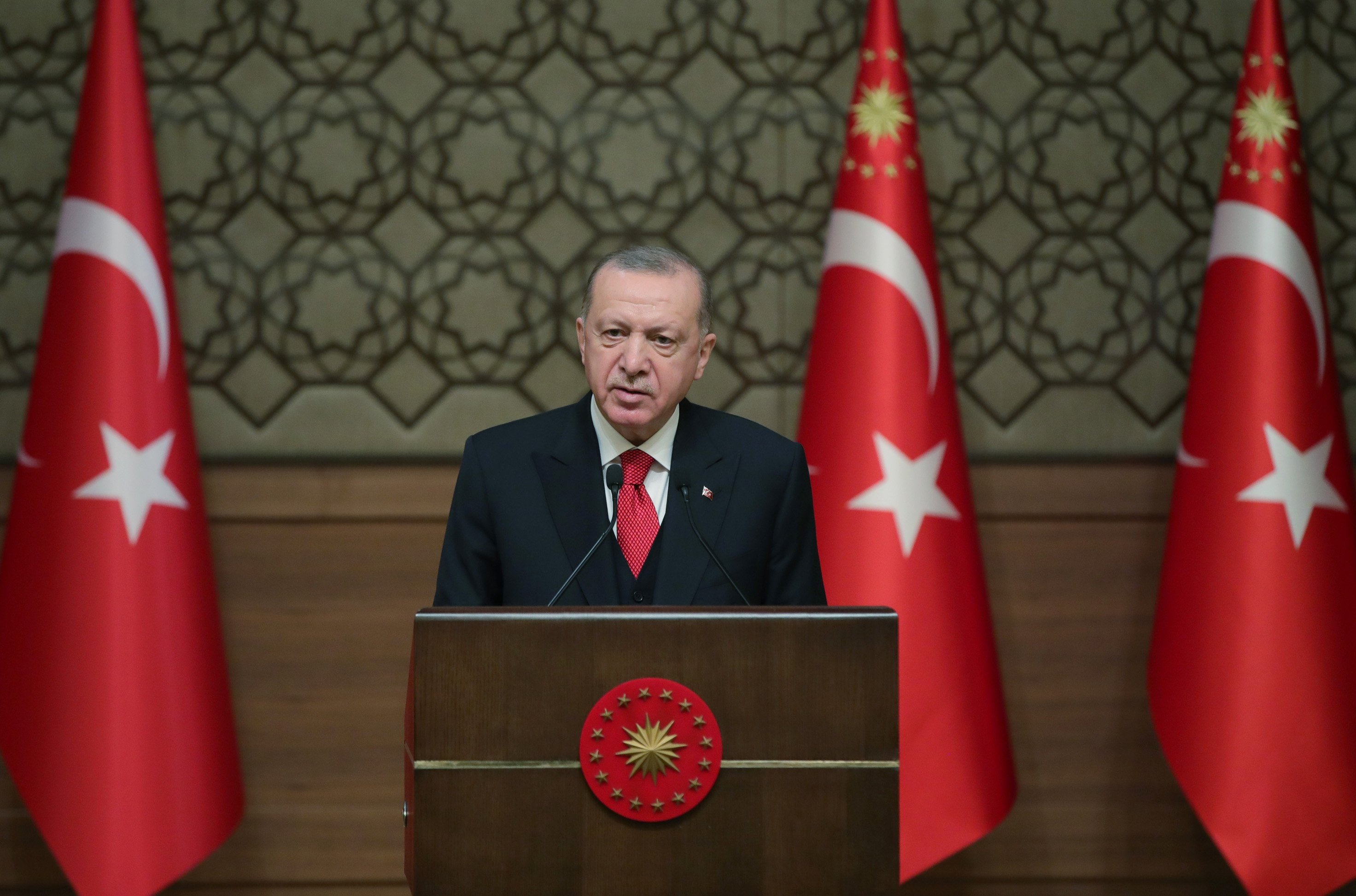 President Recep Tayyip Erdoğan speaks at the ceremony of the Ministry of Culture and Tourism 2019-2020 Special Awards, Ankara, Turkey, Jan. 20, 2021. (DHA PHOTO)