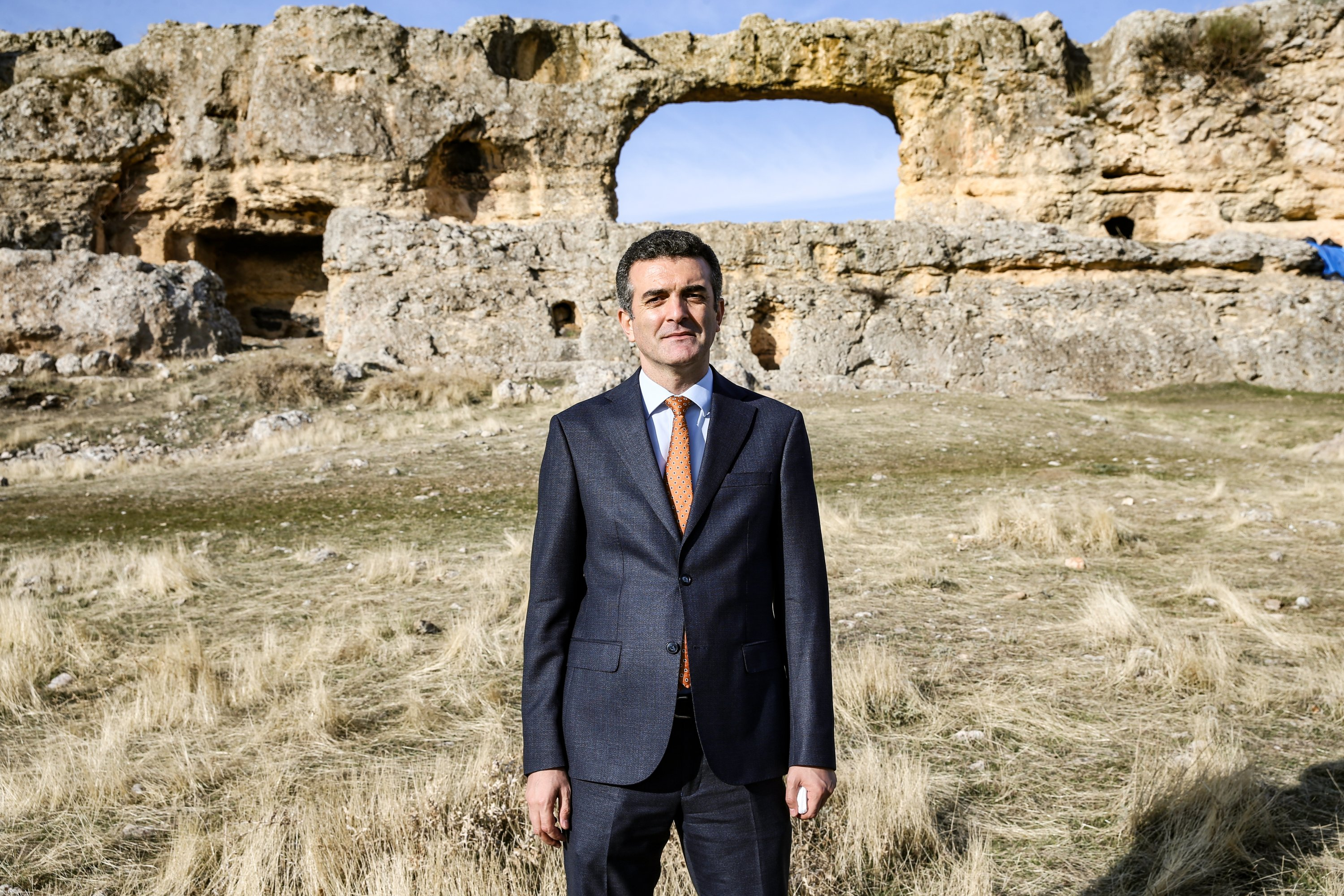 Idris Arslan, district governor and deputy mayor of the Eğil district, stands in front of Eğil Castle in Diyarbakır province, southeastern Turkey, Jan. 18, 2021. (AA Photo)