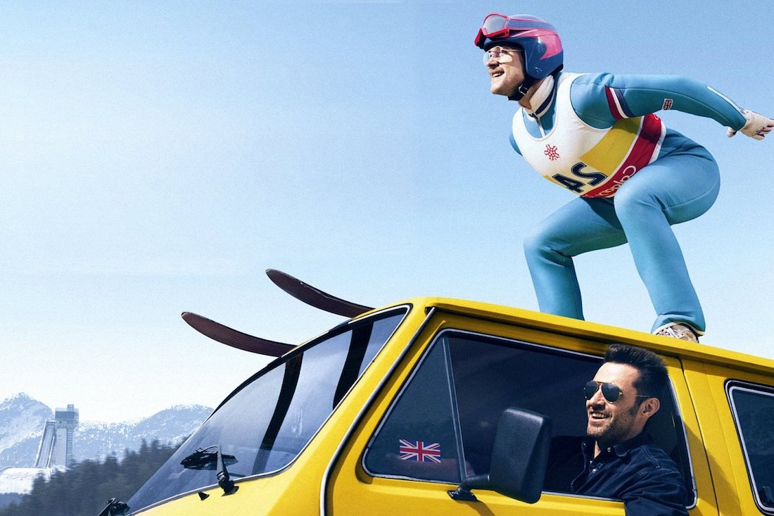 Still shot shows Taron Egerton and Hugh Jackman in a scene from 'Eddie the Eagle.'