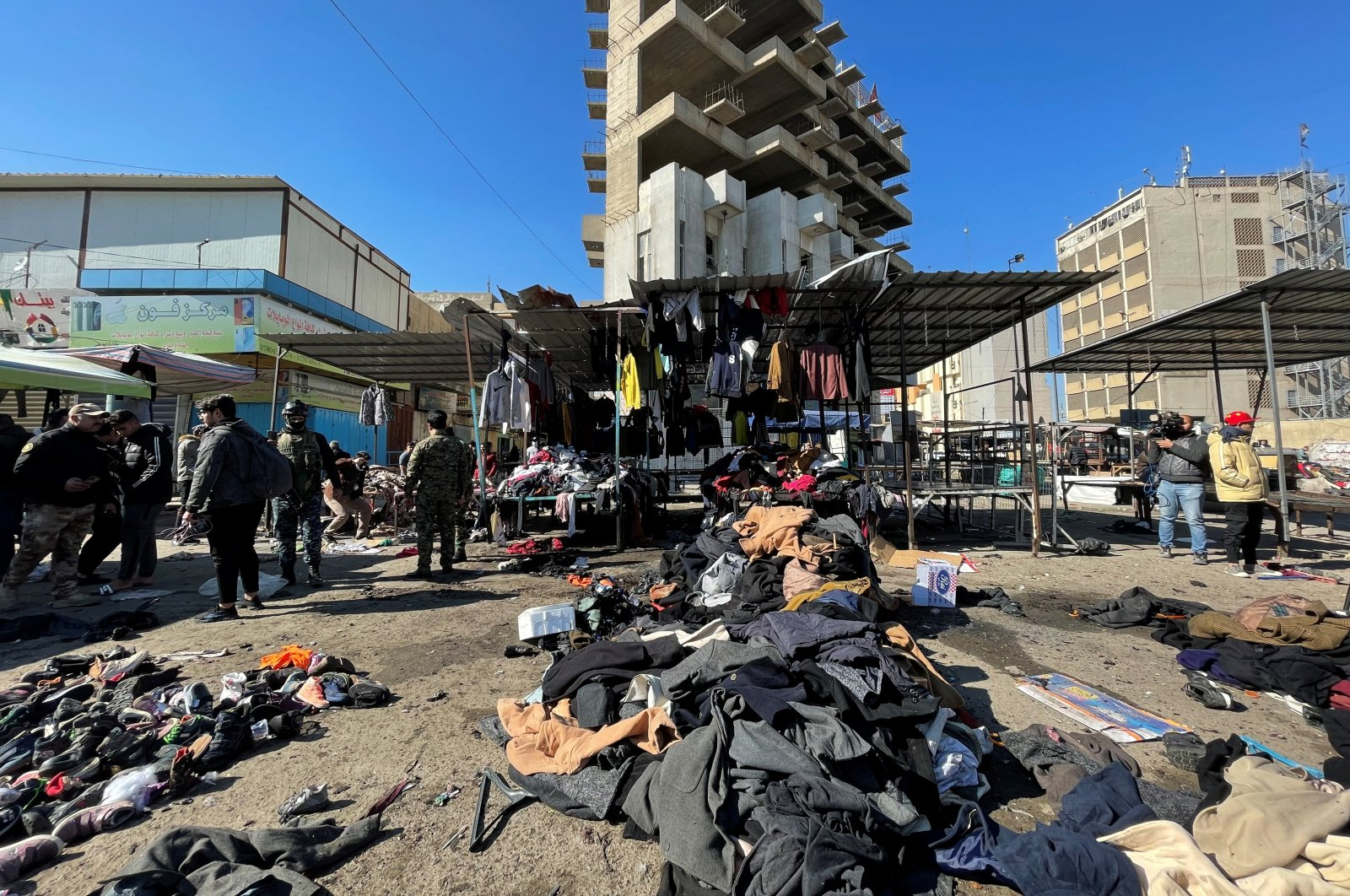 The site of a suicide attack at a central market near Tayaran Square in the capital Baghdad, Iraq, Jan. 21, 2021. (Reuters Photo)