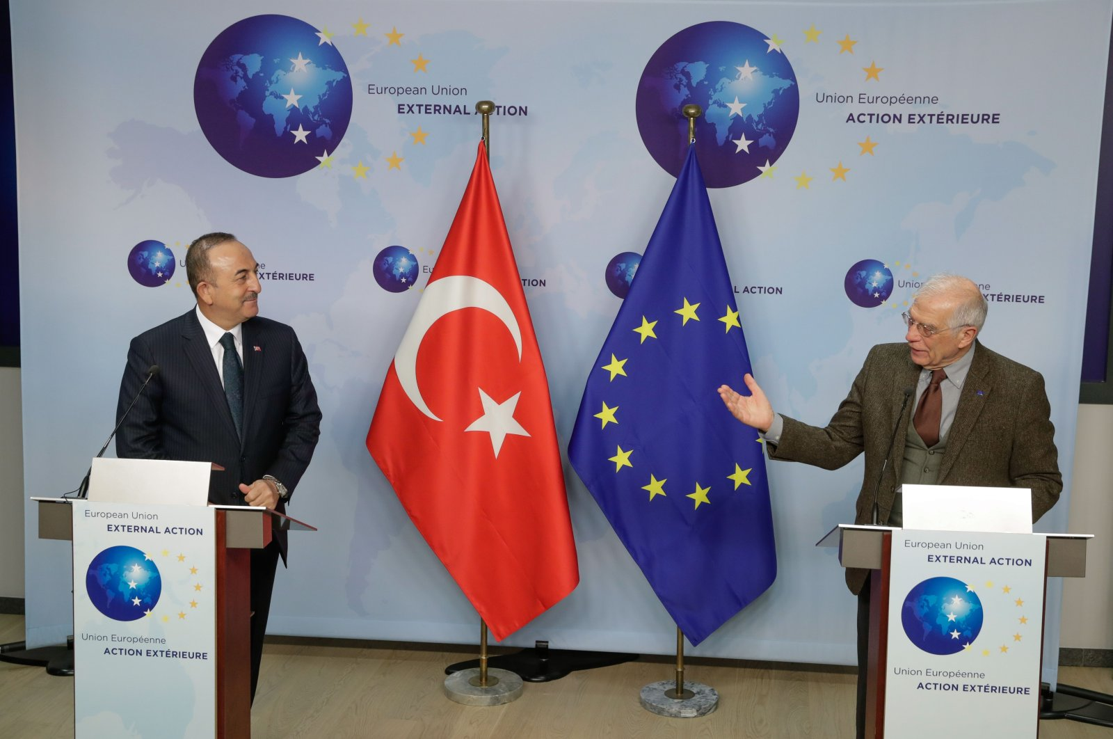 Foreign Minister Mevlüt Çavuşoğlu (L) and High Representative of the European Union for Foreign Affairs and Security Policy Josep Borrell give a joint statement ahead of a meeting at the EEAS in Brussels, Jan. 21, 2021. (AFP Photo)