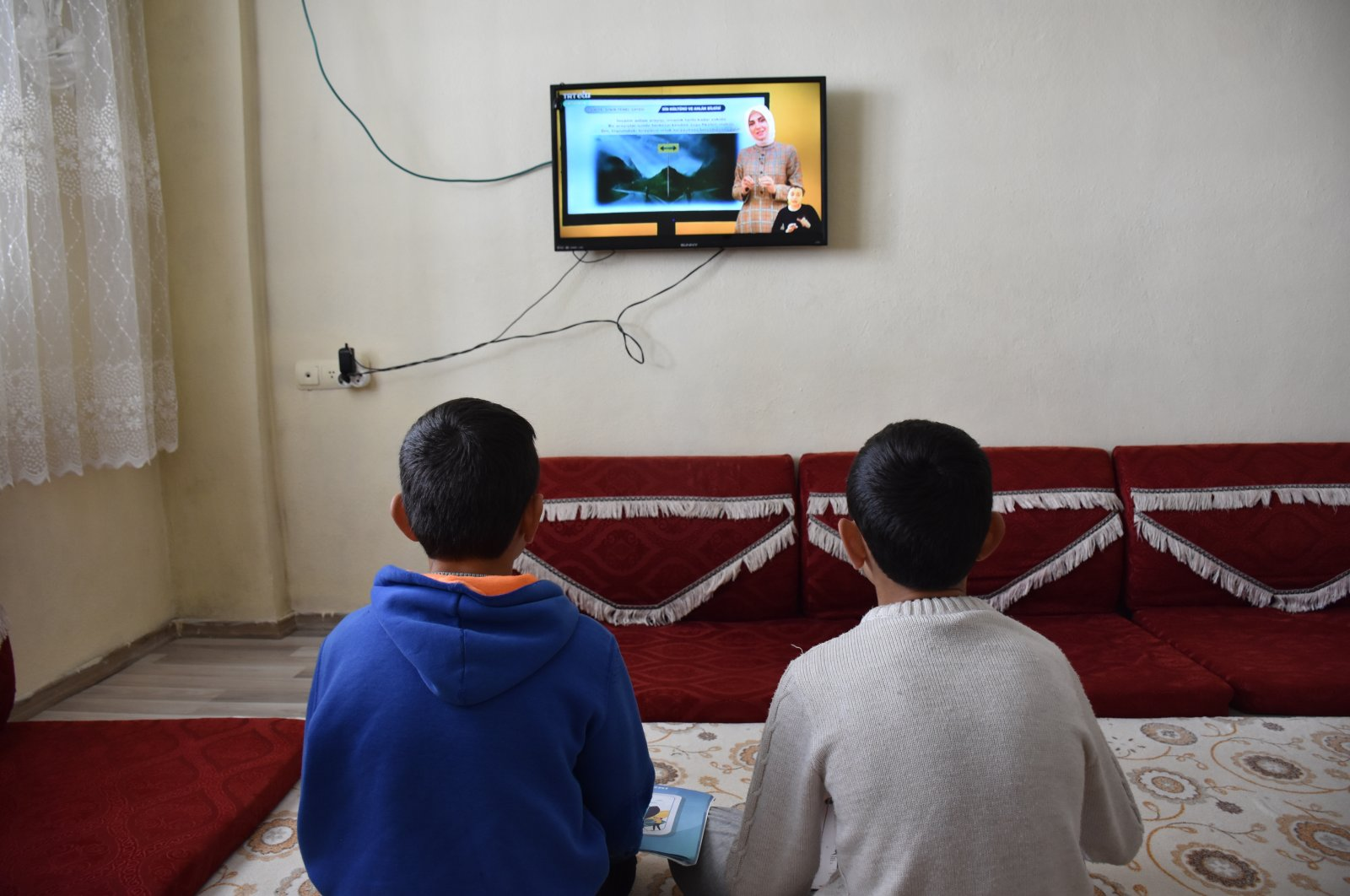 Students continue their education via distance learning from EBA, in Hakkari province, southeastern Turkey, Jan. 21, 2021. (AA Photo)