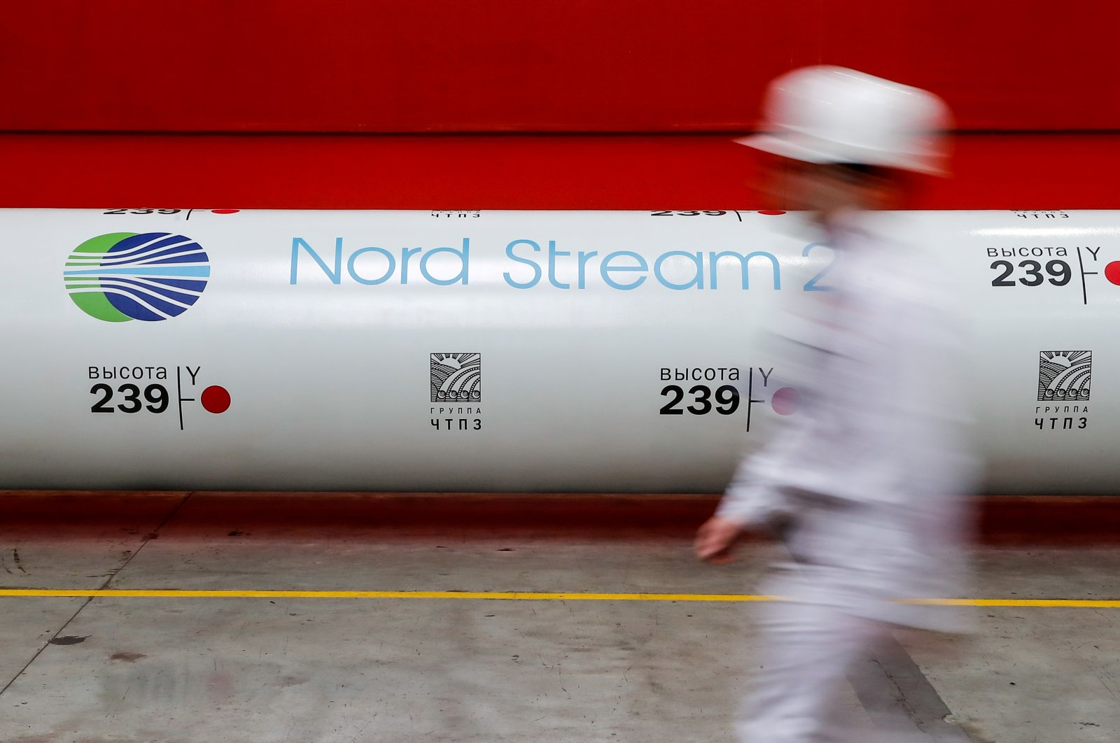 The logo of the Nord Stream 2 gas pipeline project is seen on a pipe at the Chelyabinsk pipe-rolling plant owned by ChelPipe Group in Chelyabinsk, Russia, Feb. 26, 2020. (Reuters Photo)