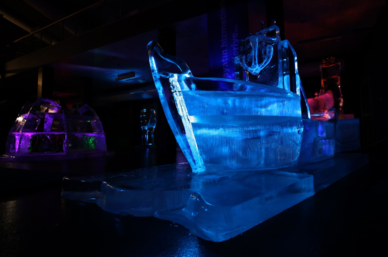 An ice ship sculpture at the Ata Ince Museum, Erzurum, eastern Turkey, Jan. 20, 2021. (AA Photo)