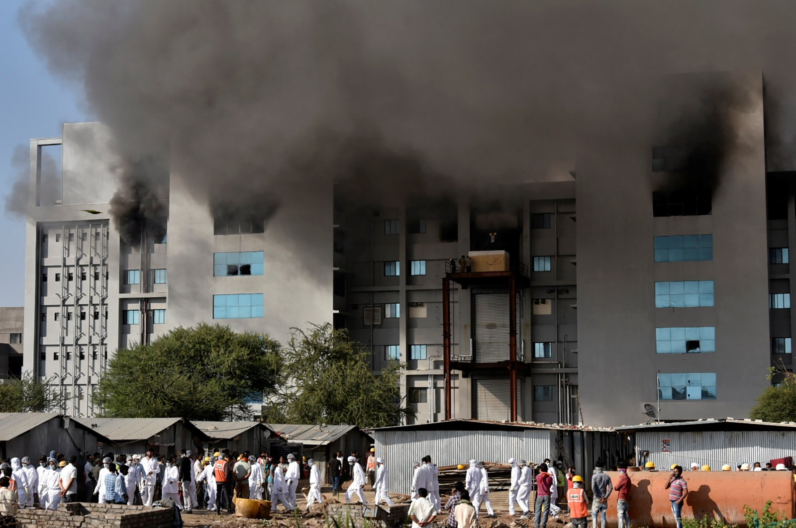 Smoke billows after a fire broke out inside the complex of the Serum Institute of India, in Pune, India, January 21, 2021. (Reuters Photo)