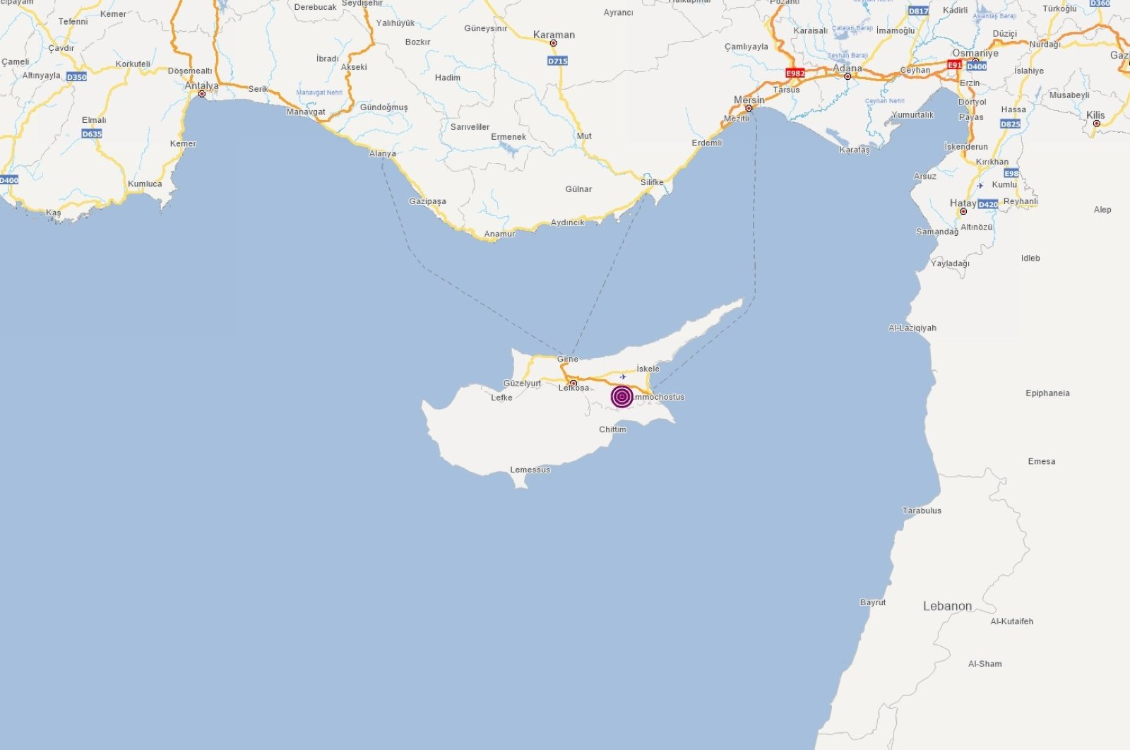 A screenshot from Turkey's Disaster and Emergency Management Authority (AFAD) shows the epicenter of the earthquake on the island of Cyprus, Jan. 21, 2021.