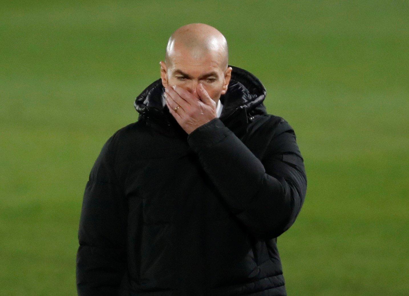 Real Madrid coach Zinedine Zidane reacts during a La Liga match against Granada, Estadio Alfredo Di Stefano, Madrid, Spain, Dec. 23, 2020. (Reuters Photo)
