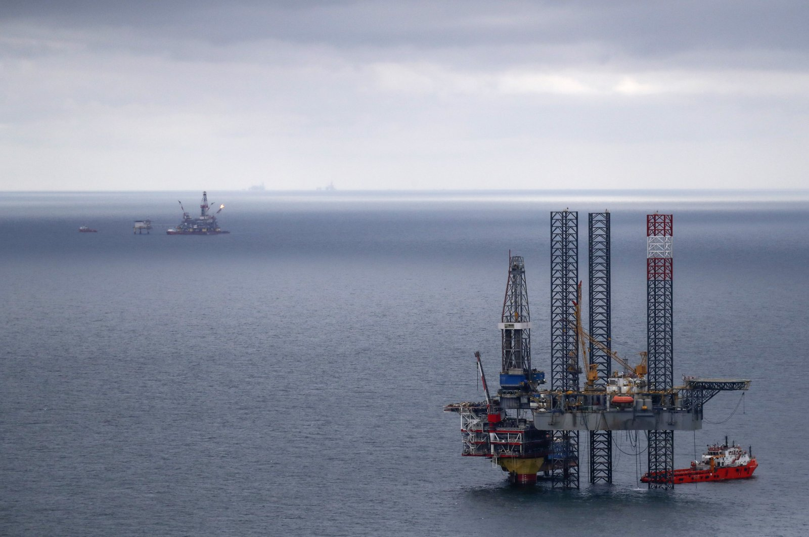 This file photo shows oil platforms operated by Lukoil company are seen at the Korchagina oil field in Caspian Sea, Russia, Oct. 17, 2018. (Reuters Photo)