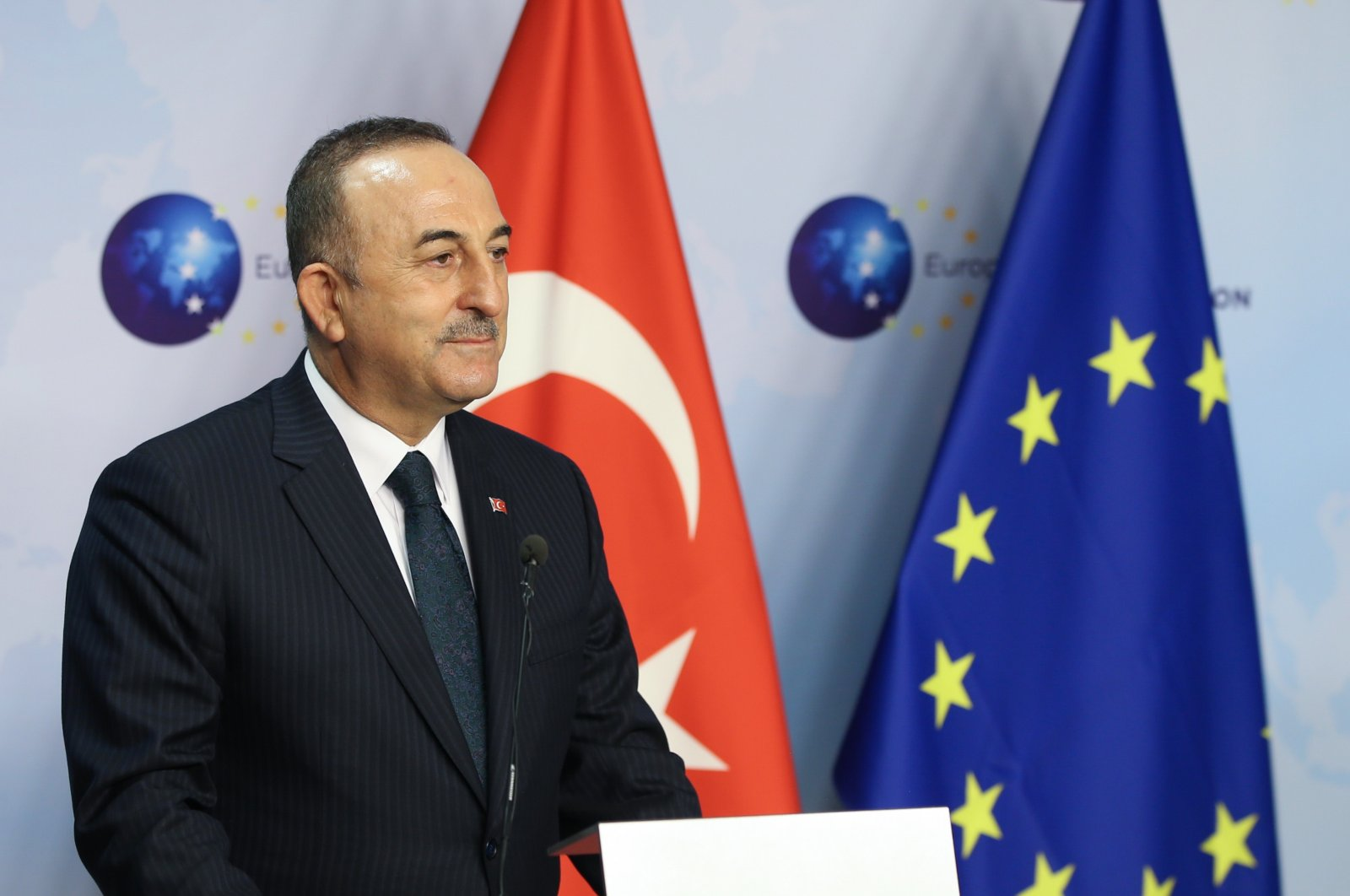 Foreign Minister Mevlüt Çavuşoğlu speaks during a joint press conference with EU foreign policy chief Josep Borrell in Brussels, Belgium, Jan. 21, 2021 (AA Photo)