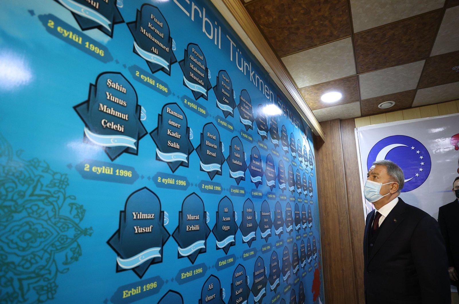 Defense Minister Hulusi Akar visits the Iraqi Turkmen Front headquarters in Irbil, Iraq, Jan. 20, 2021. (DHA Photo)